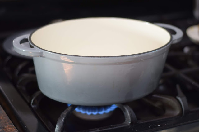 a large soup pot on the stove.