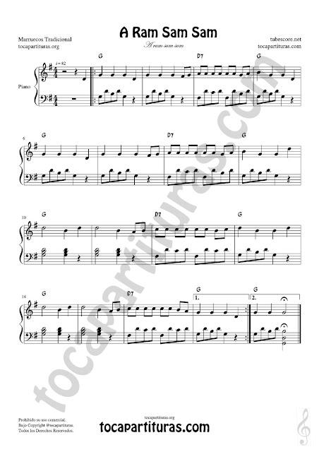 A Ram Sam Sam Partitura PDF, MIDI y JPG para Piano muy fácil con acordes en letra (en inglés) principiantes Easy Sheet Music for Piano beginners
