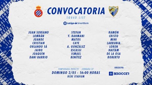 Málaga, cuatro juveniles convocados ante el Espanyol