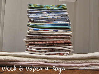 Image: Baby wipes and cleaning rags. Week 6 for Needle Down. Fabric is mostly scrap from old clothing, by J. Whyte on Flickr