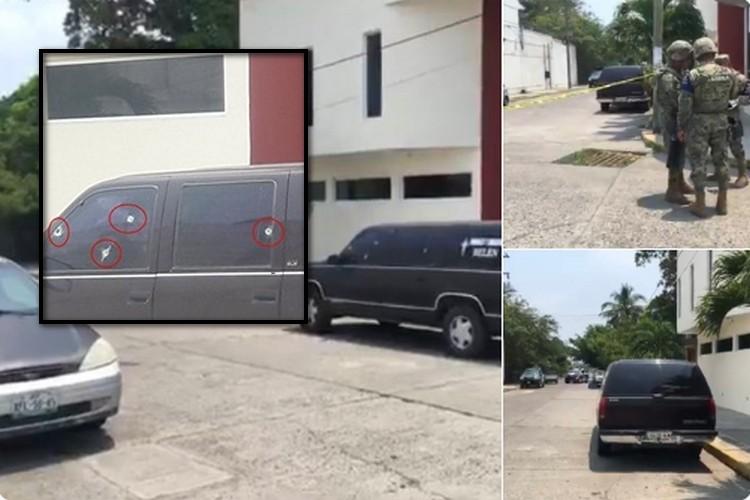 Tras persecución Sicarios rafaguean carroza fúnebre en Tuxpan, Veracruz.