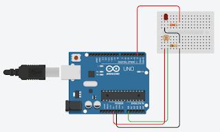 Rangkaian Sensor Cahaya LDR dengan LED dan Arduino UNO