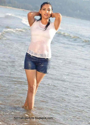 hottest politician actress ramya showing her navel in beach wearing white bra