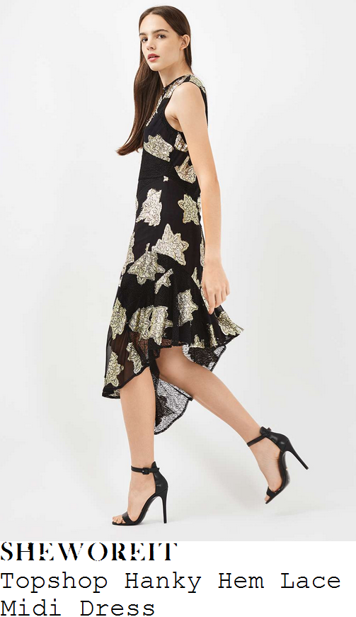 claudia-winkleman-topshop-black-and-gold-sheer-floral-print-lace-overlay-sleeveless-high-waisted-asymmetric-ruffle-hem-detail-midi-dress