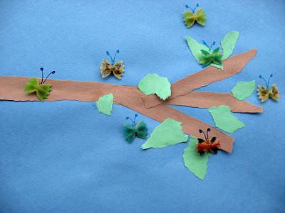 Бабочки из макарон