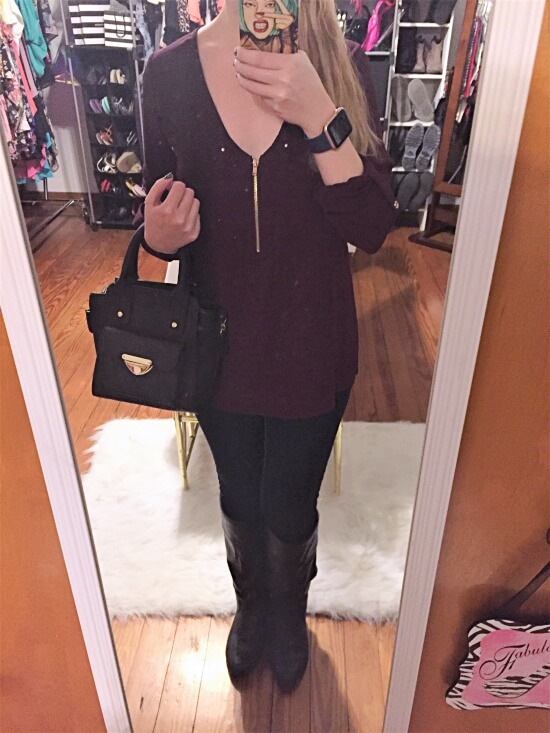 burgundy shirt with gold accents outfit of the day