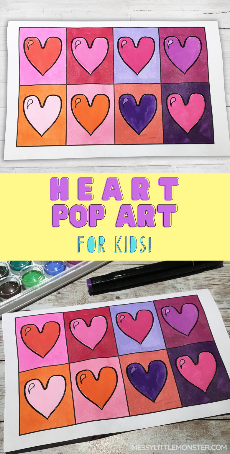 Heart art project. Pop art for kids. Andy Warhol for kids.
