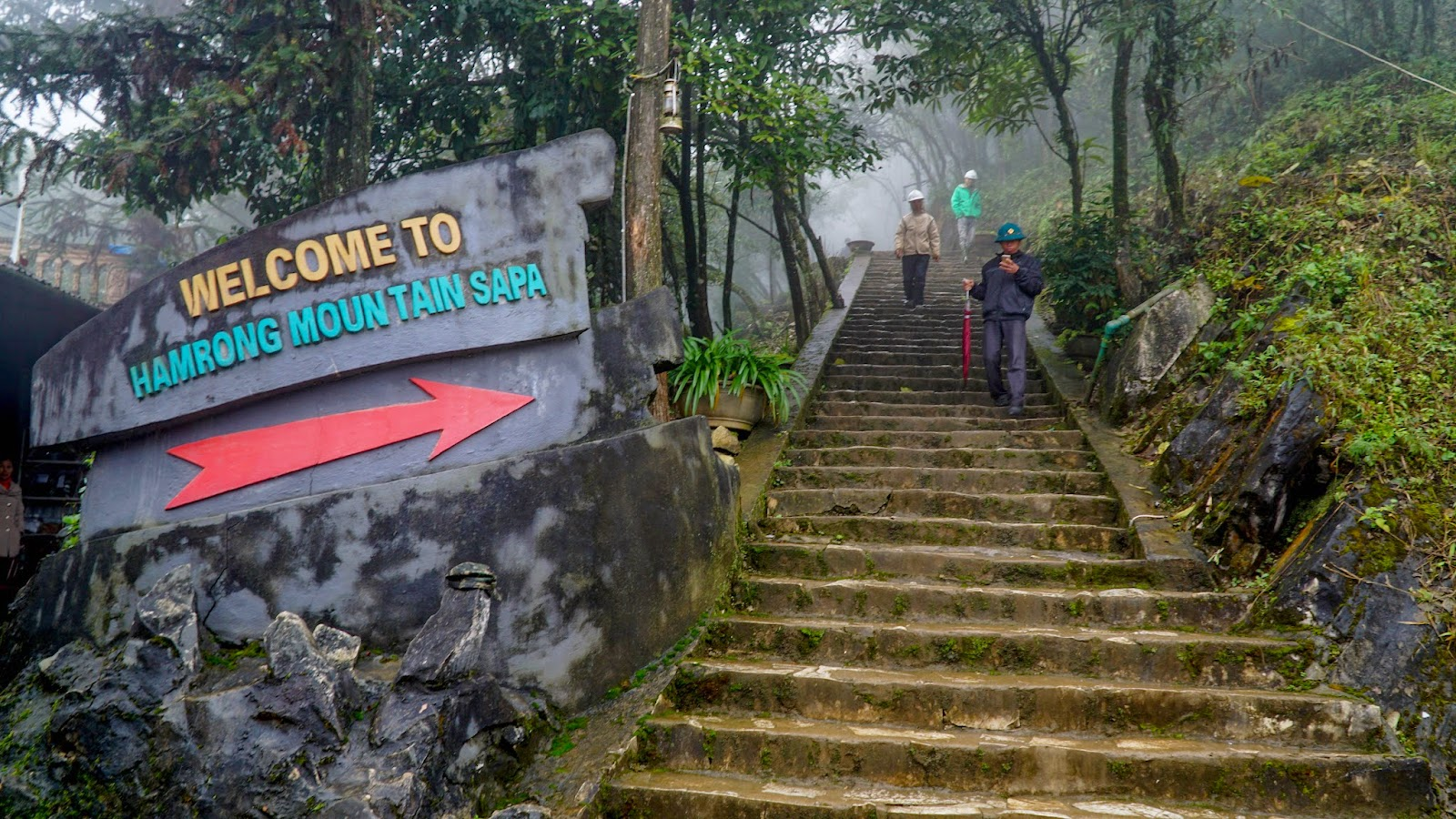 The walk up to the top of Hamrong Mountain. If you are having trouble finding this place, here's a hint. The entrance is behind the Sapa stone church