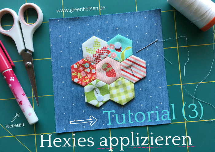 Tutorial 3 | Hexies auf Hintergrundstoff applizieren (English Paper Piecing)