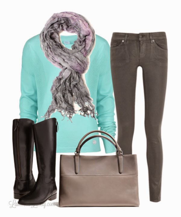 Turquoise and Gray  - Fall Fashion