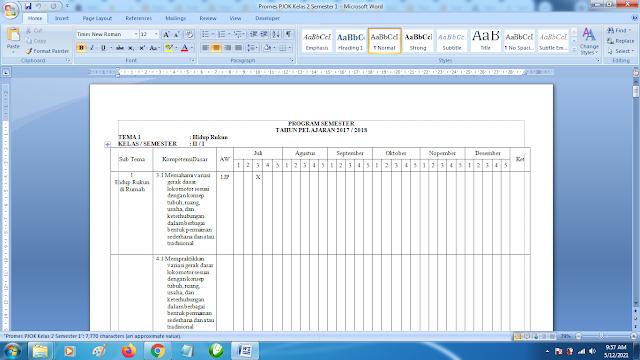 Contoh Promes PJOK Kelas 2 SD Semester 1 Kurikulum 2013 Revisi Terbaru