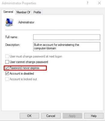 Cara Memperbaiki Kesalahan 'The Referenced Account is Currently Locked out' - Set the Password to never expire 3