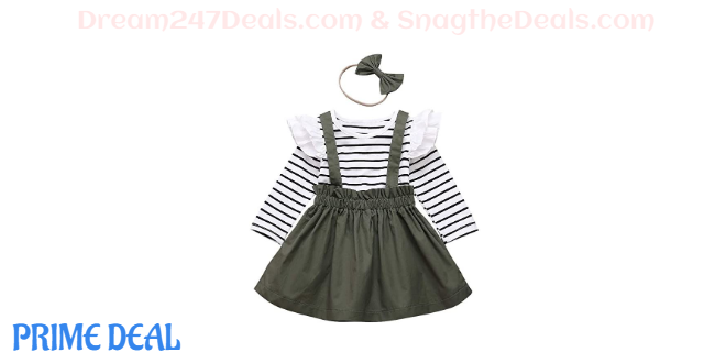 35% off  Toddler Girls Clothes Black White Stripes Ruffle Tops Jumpsuit + Suspender Skirt + Headband 3PCS Outfit Set