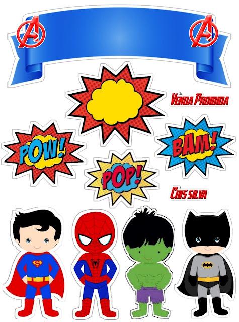 Super Héroes Niños: Toppers para Tartas, Tortas, Pasteles, Bizcochos o Cakes para Imprimir Gratis.
