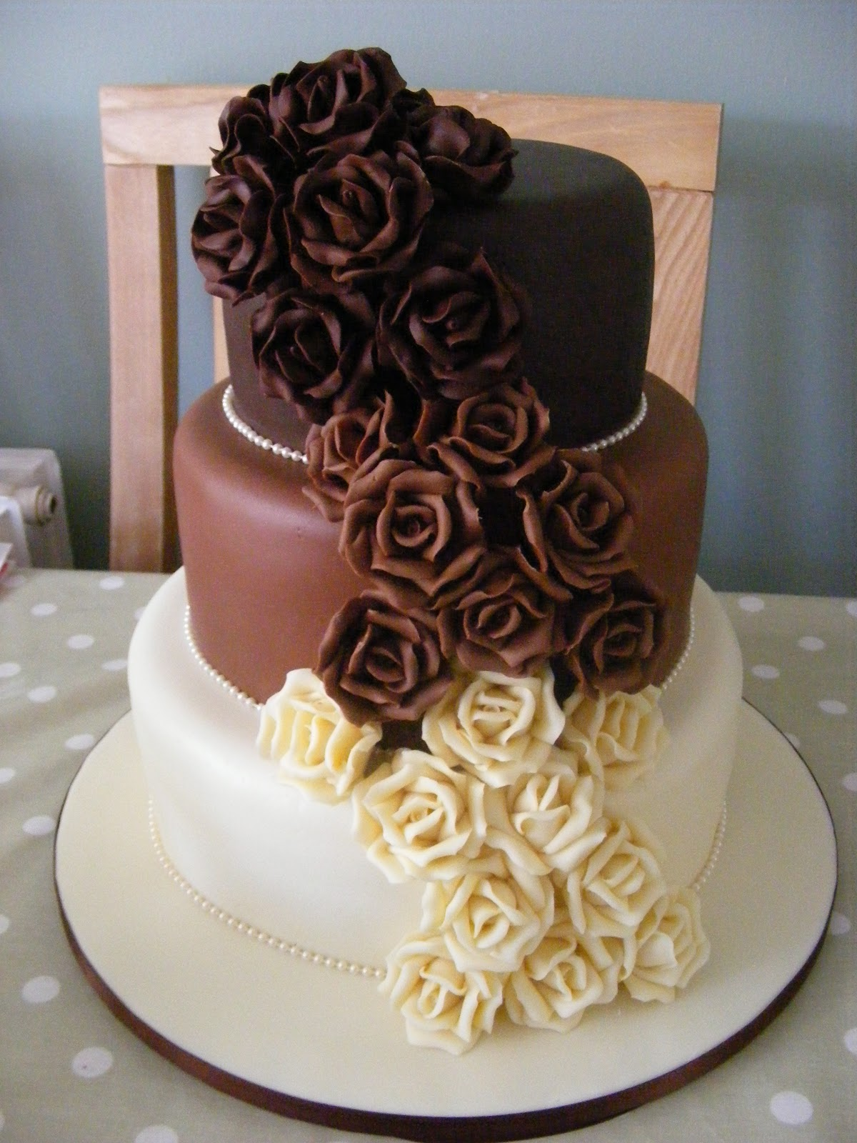Cakes By Karen Chocolate Rose Wedding Cake Three Tier