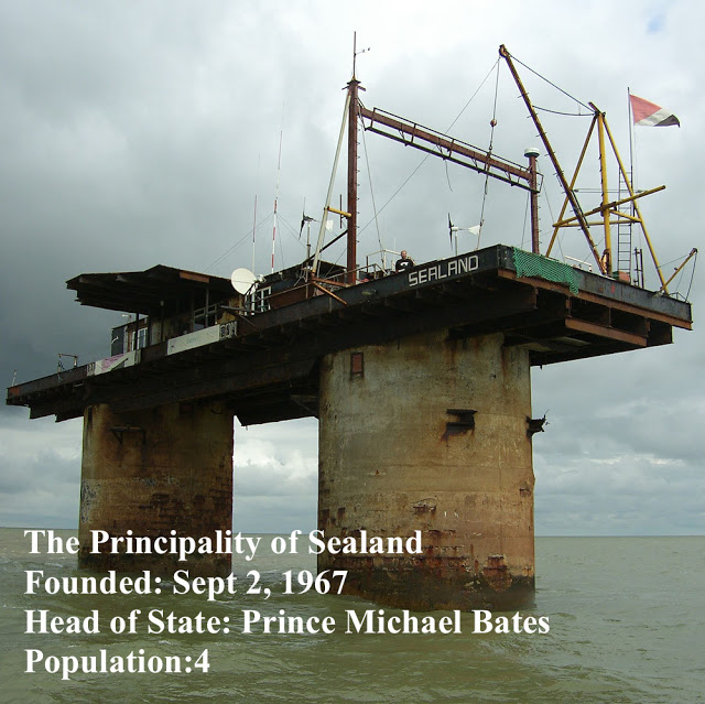 Recent photo of WWII platform, The Principality of Sealand, a micronation. Pirate Radio and Sealand and Other stories of Rock, Radio, and Regulations. Marchmatron.com