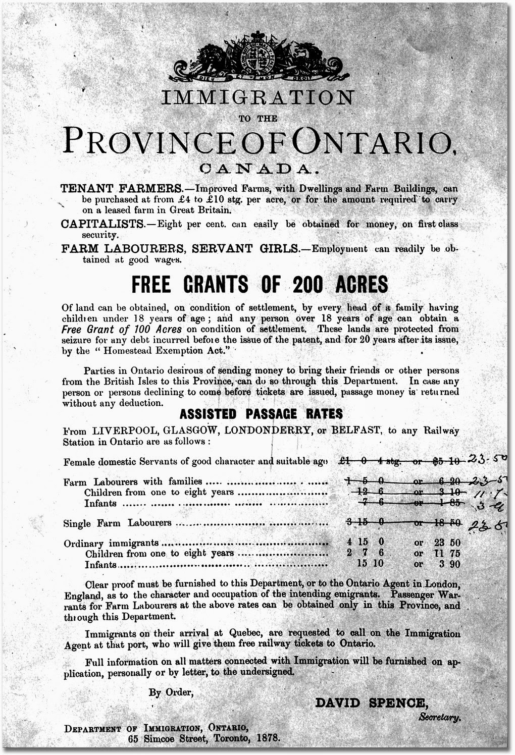 Climbing My Family Tree: Ontario Immigration Poster from late 1800's