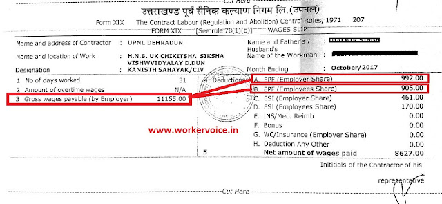 UPNAL outsource worker salary slip