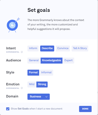Set writing goals on Premium Grammarly
