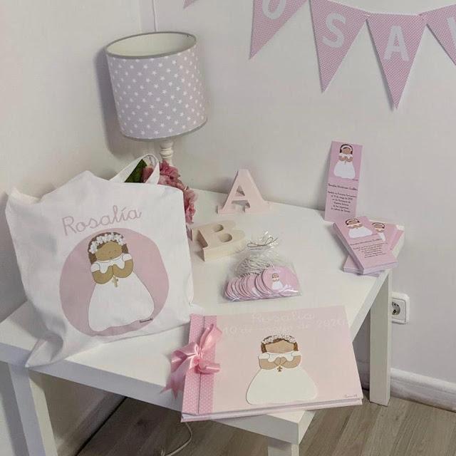 Primera comunión papelería personalizada para niña