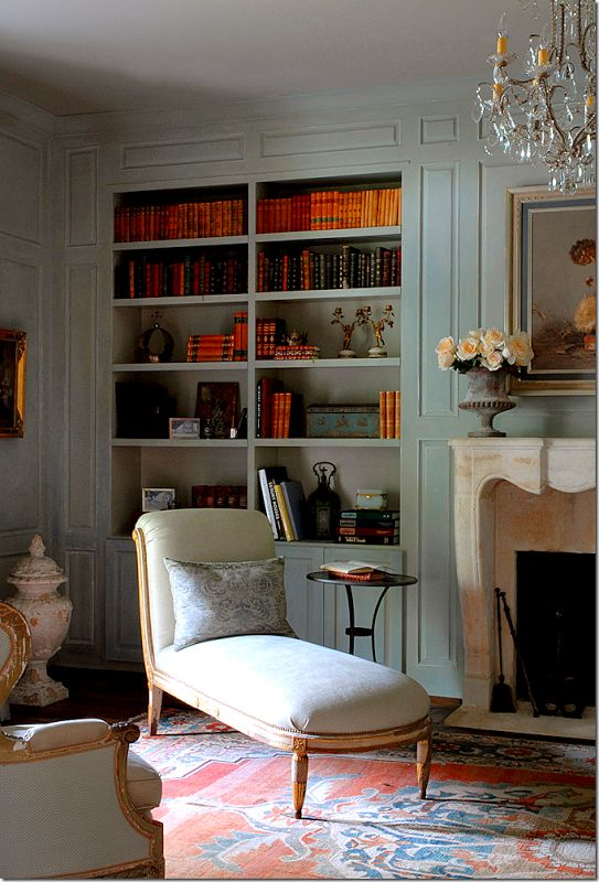 Sophisticated paneled room with builtin shelves and antiques by Eleanor Cummings