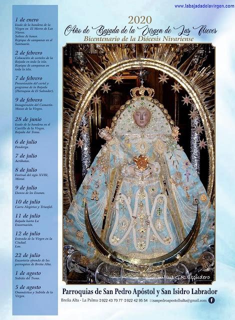 Avance del Programa de Actos Religiosos de La Bajada de La Virgen de Las Nieves 2020