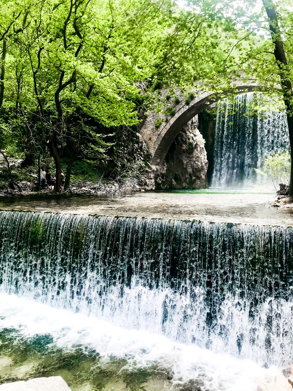 Palaiokarya waterfall bridge stone, Palaiokarya kataraktes, most beautiful waterfalls, Greece nature