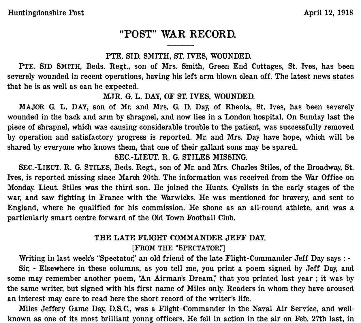St Ives 12 April 1918