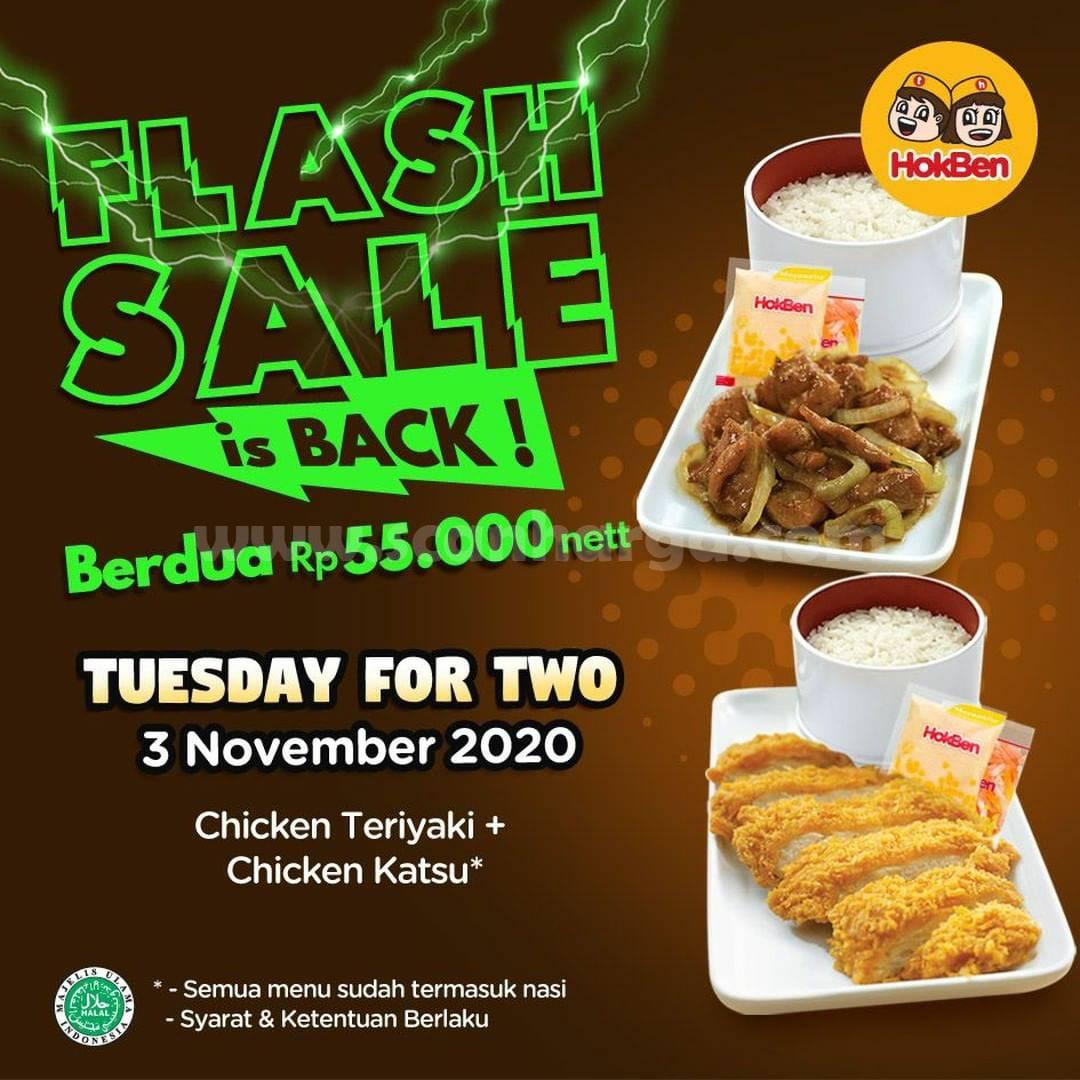 Hokben Flash Sale Tuesday - Paket Chicken Teriyaki & Chicken Katsu + nasi cuma Rp 55.000 nett
