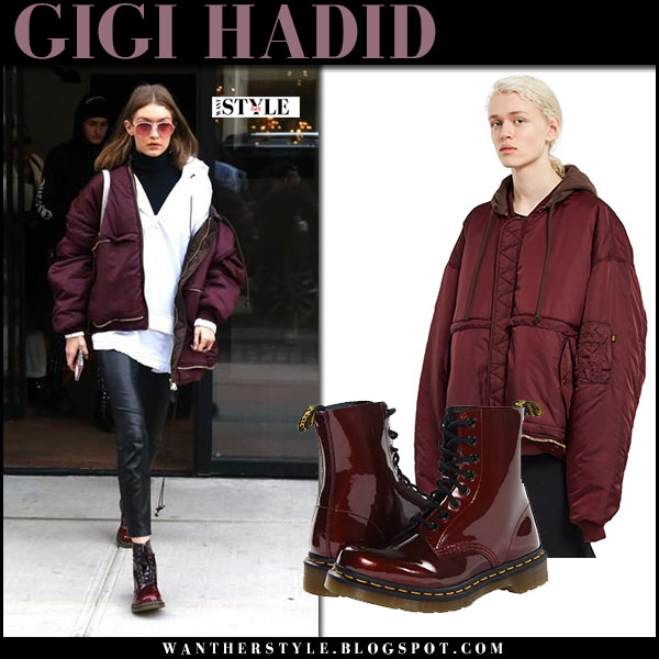 Gigi Hadid in burgundy oversized vetements jacket, leather pants and burgundy army boots dr. martens what she wore