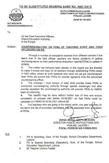 COUNTERSIGNATURE ON PERs OF TEACHING STAFF AND THEIR UPLOADING ON SIS