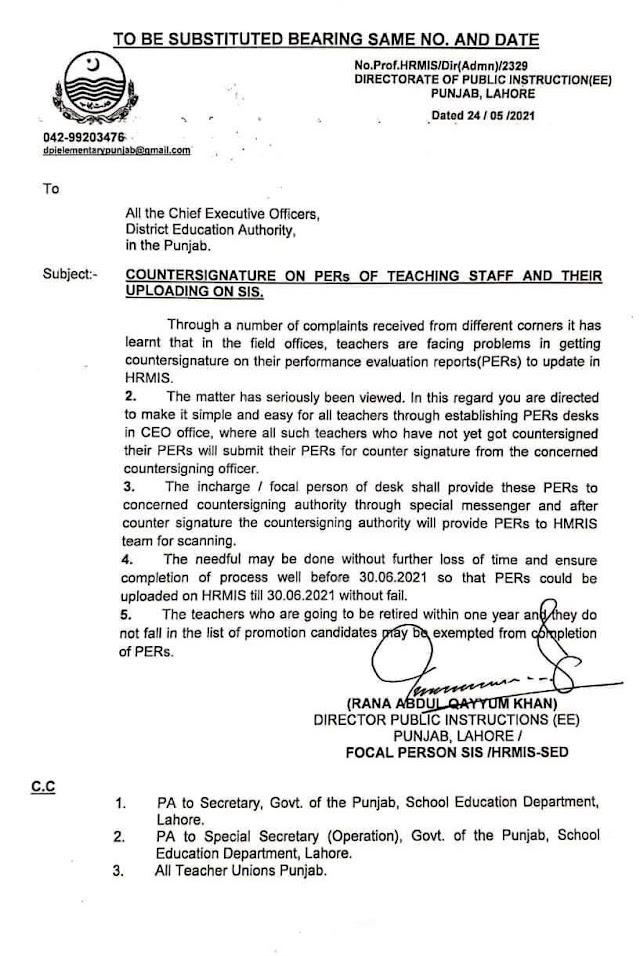 REVISION OF DATE FOR COUNTERSIGNATURE ON PERs OF TEACHING STAFF AND THEIR UPLOADING ON SIS