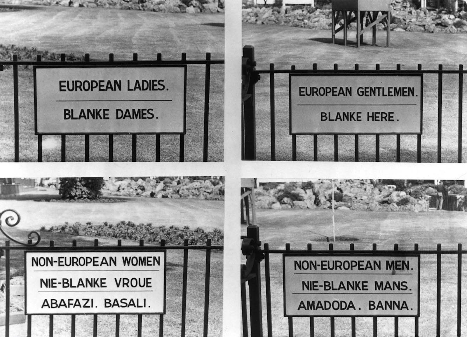 Signs in both English and Afrikaans in Johannesburg. 1957.