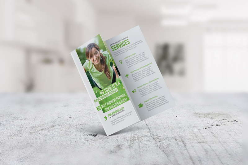 Green Eco Friendly Looked Trifold Brochure Indesign Template For
