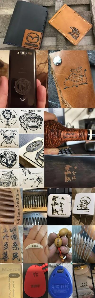 منتجات من مواد مختلفة محفور ومطبوع عليها رسومات وكتابات