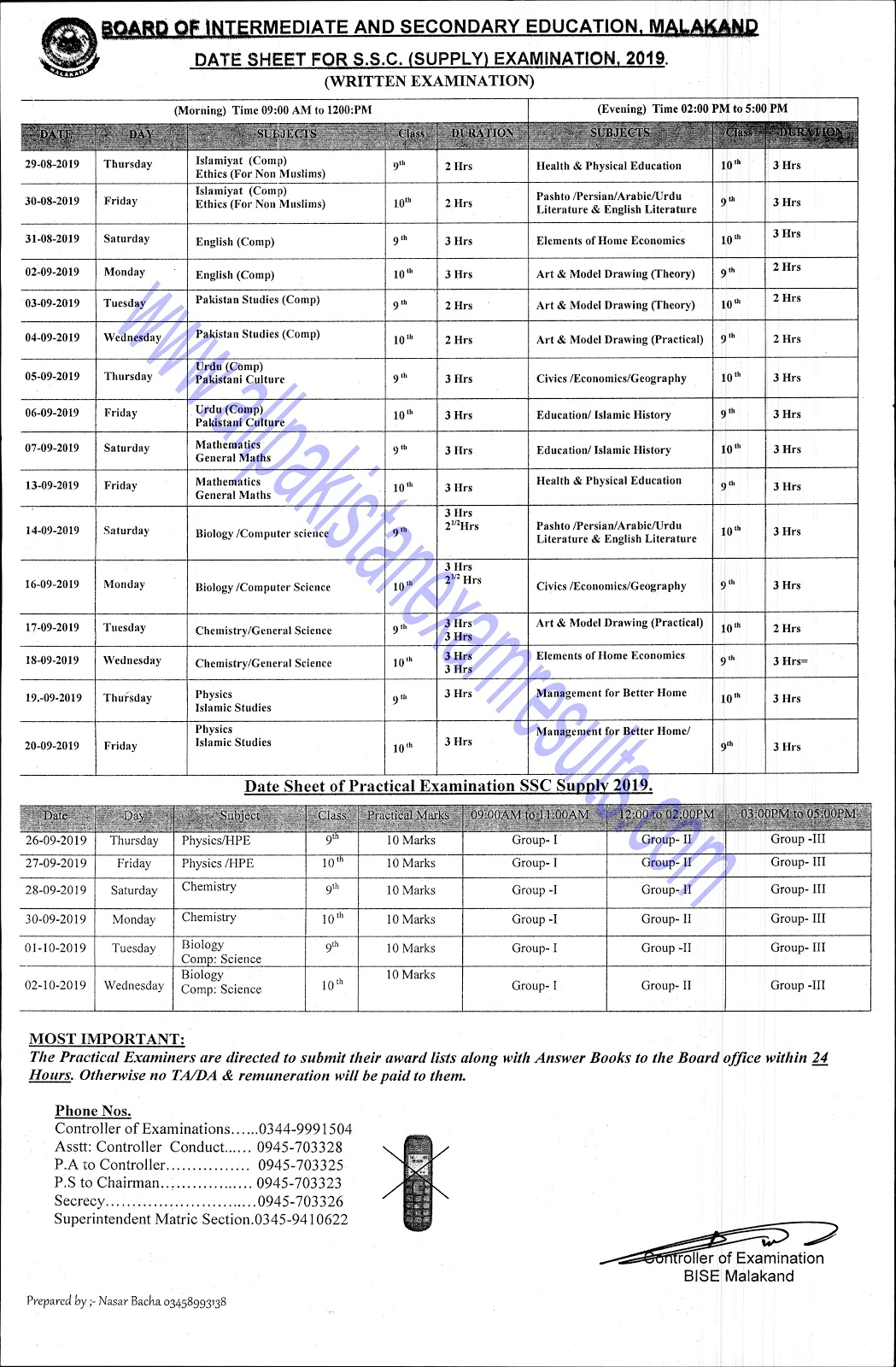 Date Sheet For SSC Supplementary Malakand Board 2019