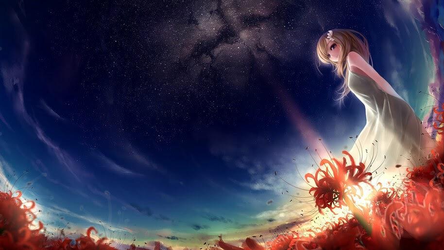 Anime, Girl, Scenery, Sunrise, Night, Sky, 4K, #275