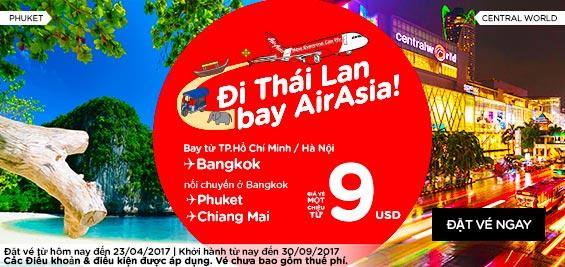Mua vé Air Asia bay rẻ đến Thái Lan