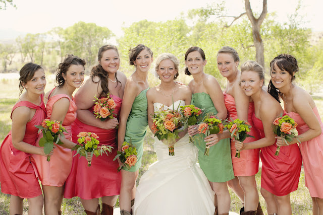 rustic+bridesmaid+bridesmaids+dresses+bride+bridal+groom+grooms+wedding+shabby+chic+orange+green+pink+cake+mason+jar+jars+bouquet+wood+woodland+woods+tracy+moore+photography+4 - Succulents & Bark