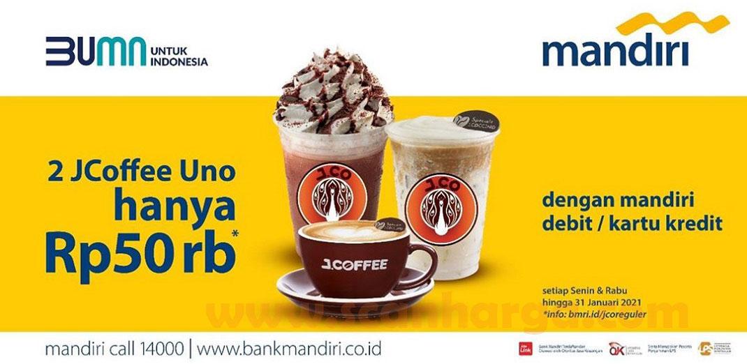 JCO Promo 2 JCoffee Uno hanya Rp50 ribu dengan Debit /Kartu Kredit Mandiri