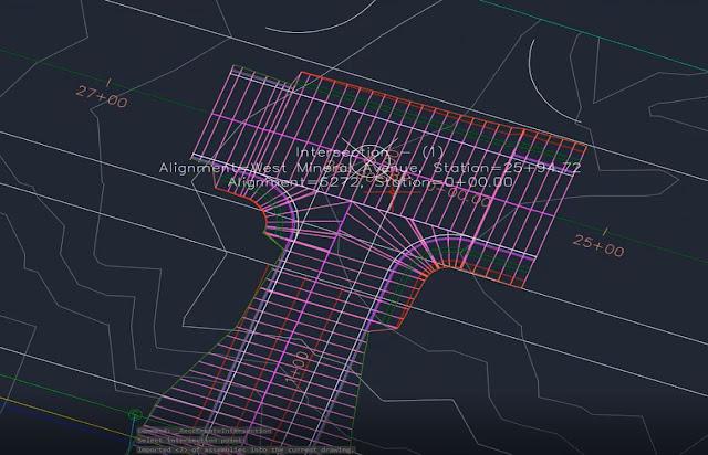 Intersection in corridor in Autodesk Civil 3D