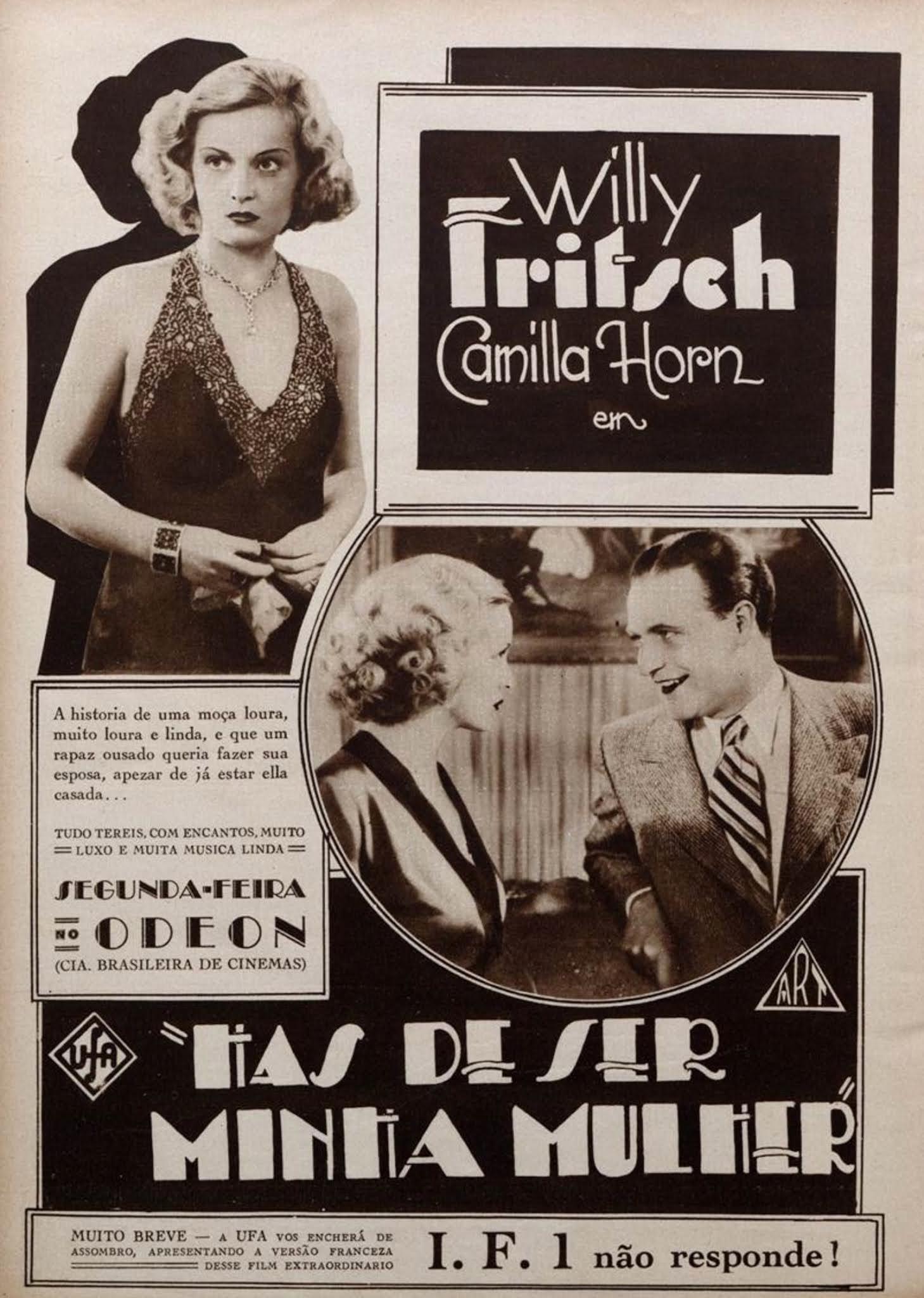"""Propaganda antiga do filme """"Hás de Ser Minha Mulher"""" no ano de 1933"""
