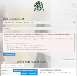name not on jamb matriculation list