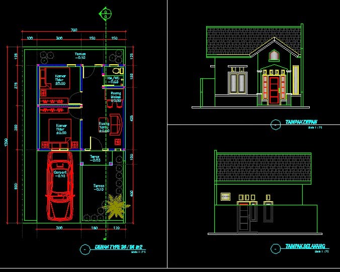 Gambar Desain Rumah Minimalis Dwg  48 desain rumah type 36 autocad