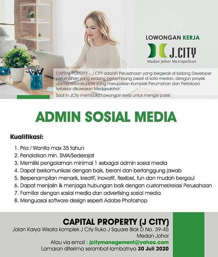 Admin Sosial Media Di J City Informasi Lowongan Kerja Medan 2021 Terbaru Hari Ini
