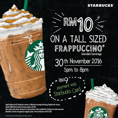 Starbucks Malaysia Tall Sized Frappuccino Discount Promo