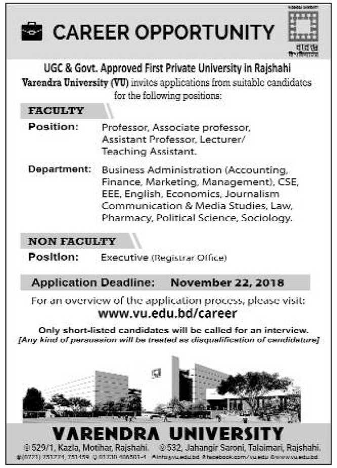 Varendra University (VU) Job Circular 2018