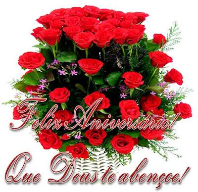 Feliz aniversário com flores