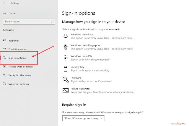 menu sign-in options pada windows 10