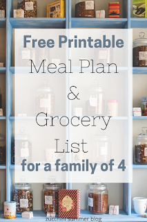 Budget meal plan and grocery list free printable